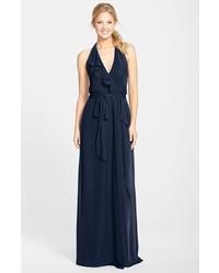 Nouvelle erica ruffle chiffon halter neck wrap gown medium 158793