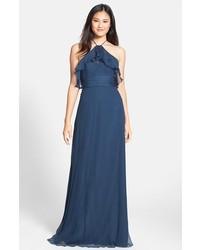 Ruffle crinkled silk chiffon halter gown medium 158797