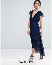 Navy Chiffon Midi Dress