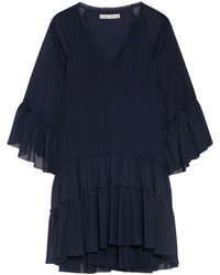 Alice + Olivia Alice Olivia Zoey Tiered Crepon And Chiffon Tunic Navy
