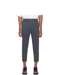 Homme Plissé Issey Miyake Blue Wool Like Light Trousers