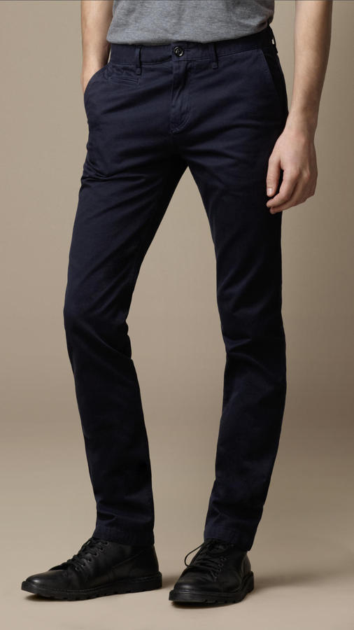 Coton Sergé Forme Mince Chinos Burberry 0UftoQy