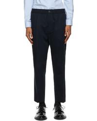 AMI Alexandre Mattiussi Navy Cropped Elasticized Waist Trousers