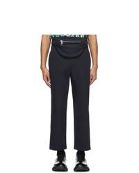 Neil Barrett Navy Gabardine Bum Bag Tube Trousers