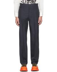 Alexander McQueen Navy Gabardine Paneled Cropped Trousers