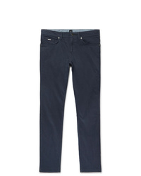 Hugo Boss Navy Slim Fit Gart Dyed Stretch Cotton Trousers