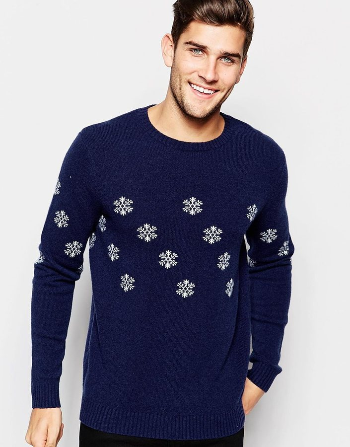 ... Asos Brand Lambswool Rich Holidays Sweater With Snowflakes ... 78c44b116