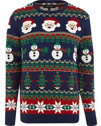 River Island Blue Christmas Sweater