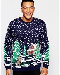 Asos Brand Holidays Sweater With Snow Scene Design