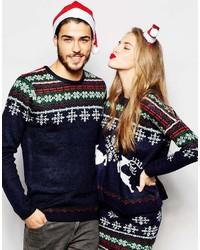 Asos Brand Holidays Sweater With Snowflake Fairisle