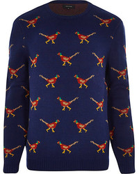 River Island Navy Pheasant Christmas Sweater