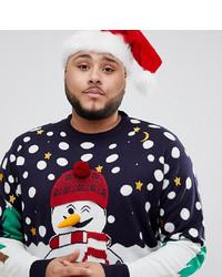 Brave Soul Plus Christmas Naughty Snowman Jumper