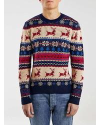 Topman Navy Reindeer Crew Neck Christmas Sweater