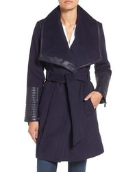 Belle Badgley Mischka Lorian Faux Leather Trim Belted Asymmetrical Wool Blend Coat