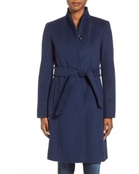 Belted wool blend stand collar coat medium 366103