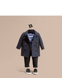 Burberry Double Breasted Cotton Pea Coat