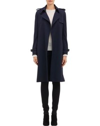 Barneys New York Crepe Trench Coat Blue