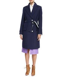 Derek Lam Crombie Tailored Single Breasted Belted Coat Navy