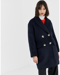 Mango Double Breasted Short Coat In Navy
