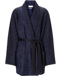 Etoile Isabel Marant Isabel Marant Etoile Navy Wool Speckled Wrap Cocoon Coat