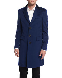 Burberry London Crombie Cashmere Blend Coat With Velvet Collar Navy