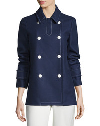See by Chloe Long Sleeve Double Breasted Coat Navy