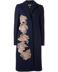 MSGM Sequin Flower Midi Coat