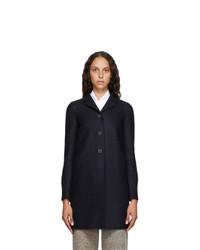Harris Wharf London Navy Pressed Virgin Wool Coat