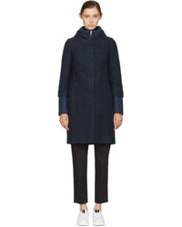 Herno Navy Wool And Nylon Layered Cocoon Coat