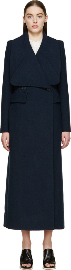 Chloé Navy Wool Crpe Long Double Breasted Coat | Where to buy