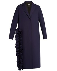 MSGM Ruffled Single Breasted Crepe Trench Coat