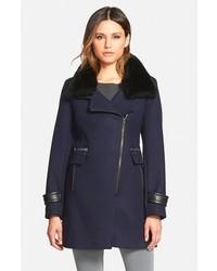 Trina Turk Aubree Wool Blend Coat With Detachable Genuine Shearling Trim