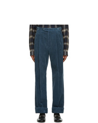 Gucci Blue Regular Fit Corduroy Trousers