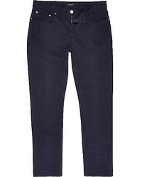 River Island Navy Slim Fit Cotton Cords