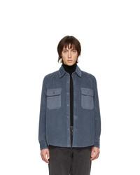 AMI Alexandre Mattiussi Blue Corduroy Shirt