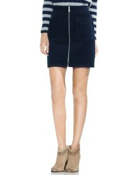 Vince Camuto Washed Corduroy Zip Front Miniskirt