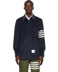 Thom Browne Navy Corduroy 4 Bar Snap Front Shirt Jacket