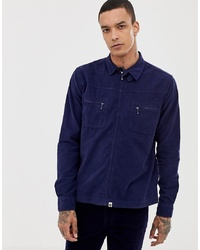 Pretty Green Zip Through Fine Cord Jacket In Navy