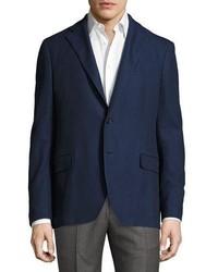 Salvatore Ferragamo Piqu Cotton Two Button Blazer Navy