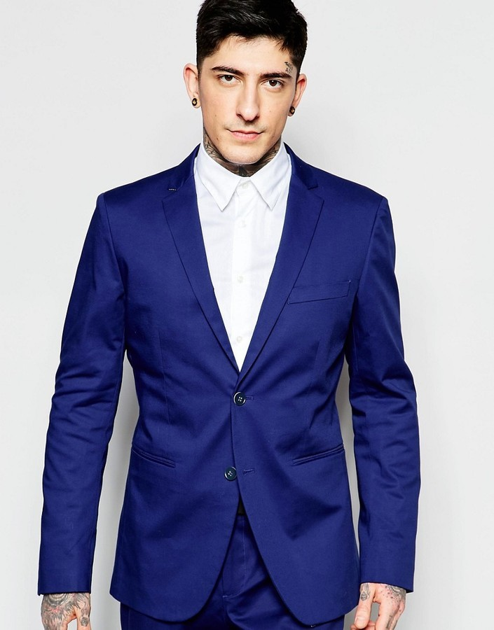 differently first rate good selling Sisley Slim Fit Suit Jacket In Cobalt Blue, $178 | Asos ...
