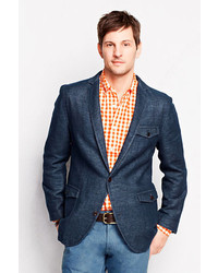 Lands' End Tailored Fit Cotton Linen Blazer