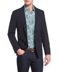 Salvatore Ferragamo Textured Two Button Cotton Jacket Navy