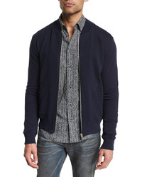 Maison Margiela Zip Up Knit Bomber Jacket With Elbow Patches Navy