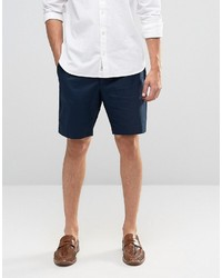 Asos Tailored Shorts In Navy Washed Cotton