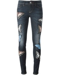Navy Cotton Skinny Jeans