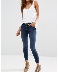 Asos Collection Lisbon Skinny Mid Rise Jeans In Dark Wash With Stepped Hem