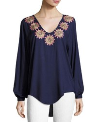 OndadeMar Dancing Blue Blouse Cover Up Navy