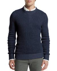 718ab9f7e166 Men s Navy Crew-neck Sweaters by Loro Piana