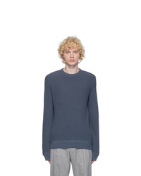 Ermenegildo Zegna Blue Open Knit Crewneck Sweater