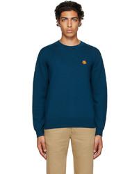 Kenzo Blue Wool Tiger Crest Sweater